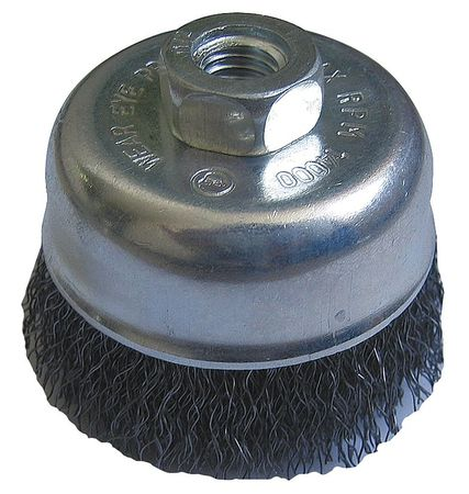 "Cup Wire Brush,  4"" Dia,  SS,  0.0200 Wire"