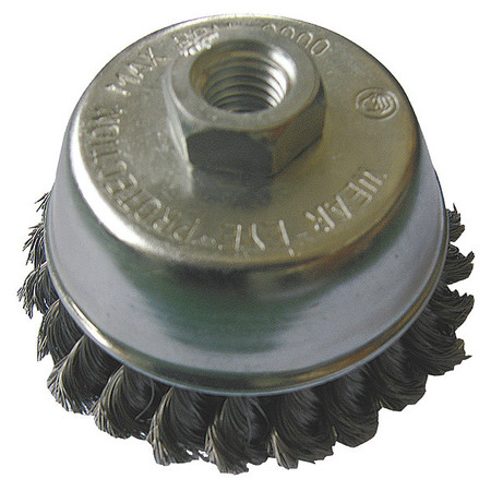 "Cup Wire Brush,  3 1/2"" Dia,  Steel,  0.0140 Wire"