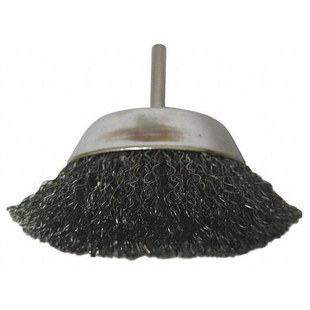 "Cup Wire Brush,  2"" Dia,  Steel,  0.0118 Wire"