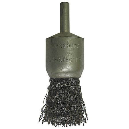 "End Wire Brush,  1/2"" Dia,  Steel,  0.0200 Wire"