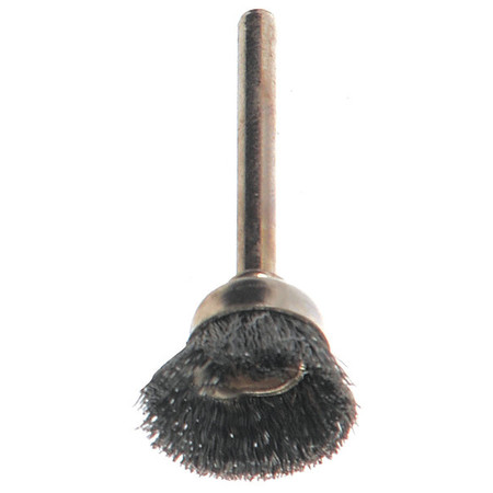 "Cup Wire Brush,  5/8"" Dia,  Steel,  PK12"