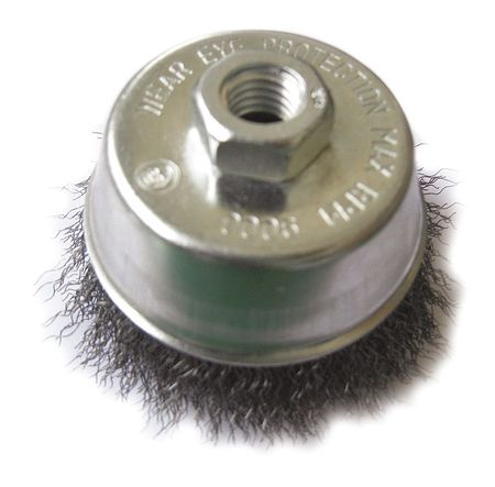 "Cup Wire Brush,  3"" Dia,  Steel,  0.0140 Wire"