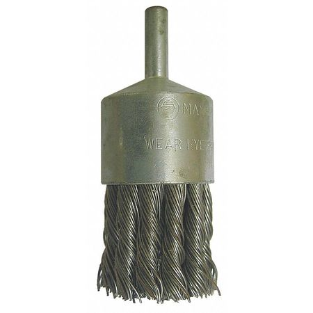 "End Wire Brush,  1 1/8"" Dia,  SS,  0.014 Wire"