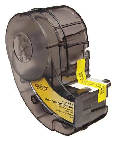"1-1/2"" x 30 ft. Black/Yellow Adhesive Label Tape Cartridge,  Vinyl"