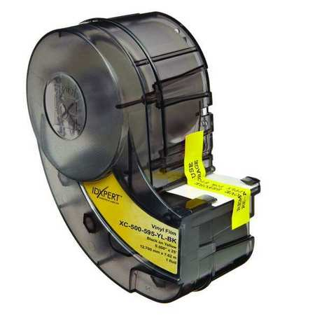 "1/2"" x 30 ft. Black/Yellow Adhesive Label Tape Cartridge,  Vinyl"