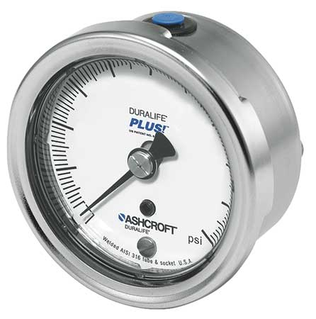 Pressure Gauge, 0 to 160 psi, 2-1/2In