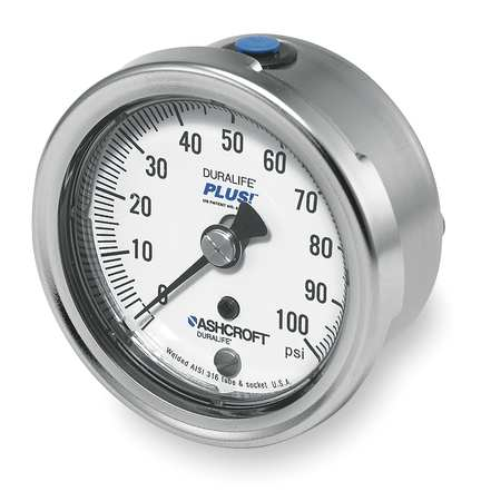 Pressure Gauge, 0 to 100 psi, 2-1/2In