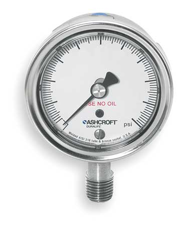 Pressure Gauge, 0 to 15 psi, 2-1/2In, 1/4In