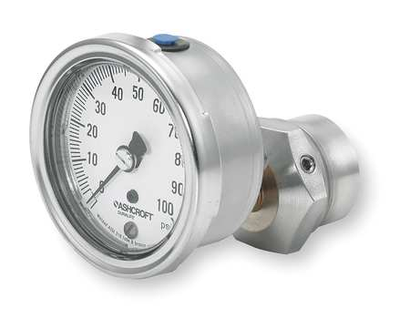 Pressure Gauge, 0 to 100 psi, 2-1/2In