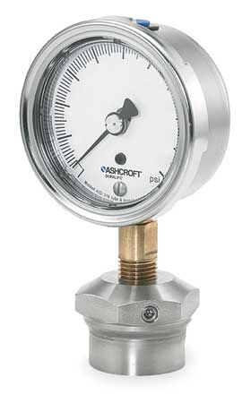 Pressure Gauge, 0 to 30 psi, 2-1/2In, 1/4In