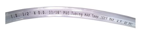 Tubing, 1/2 I.D., 100 ft., Clear, Flexible