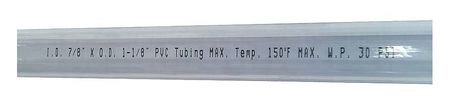 Tubing, 7/8 I.D., 100 ft., Clear, Flexible