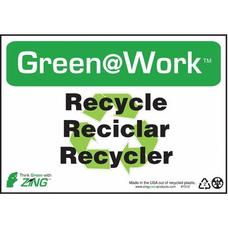 "Recycling Sign, 7"" x 10"", Plastic"
