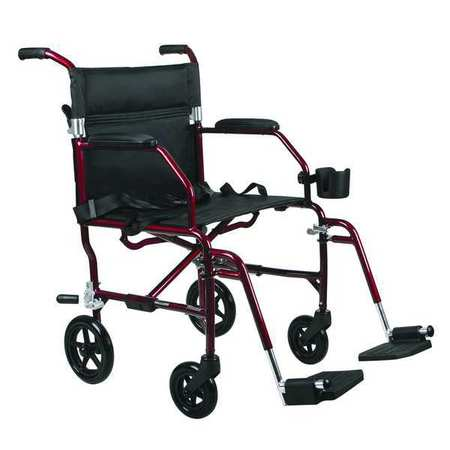 Transport Chair, 250 lb, 19 In Seat