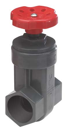 Gate Valve, 1-1/2 In., PVC, 140 Deg F