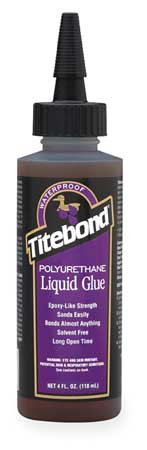 Wood Glue, Polyurethane, 4 Oz, Brown