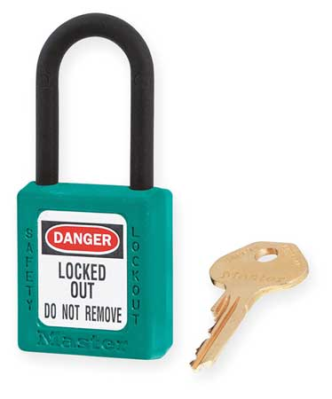 "Lockout Padlock, KD, Teal, 1-3/4""H"