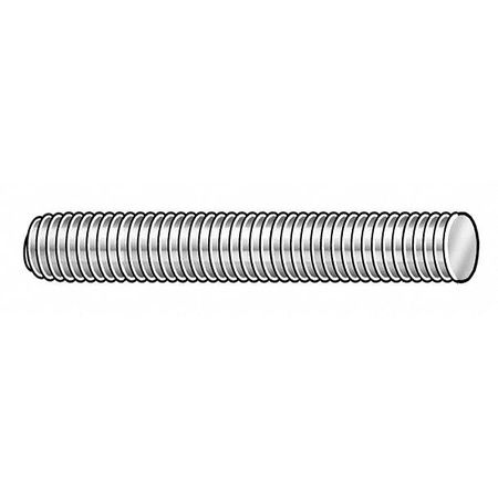 "1""-14 x 2' Zinc Plated Low Carbon Steel Threaded Rod,  1 pk."