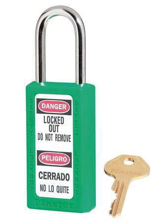 "Xenoy Lockout Padlock, KD, Green, 3""H"