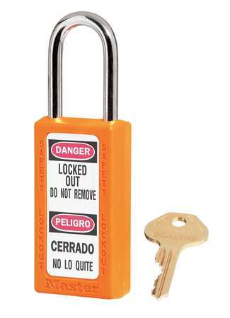 "Lockout Padlock, KD, Orange, 3""H"
