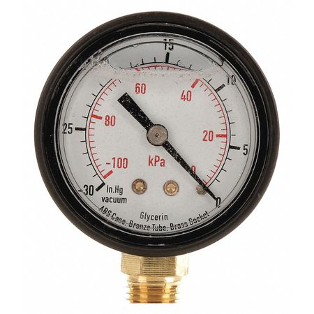 Vacuum Gauge, Liquid Filled, 2 In
