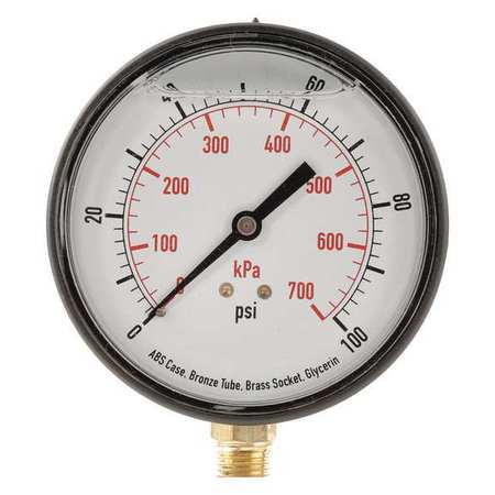 "Standard Pressure Gauge with ABS Case,  Lower Connection,  3-1/2"" Dia."