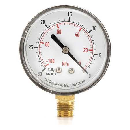 Standard Vacuum Gauge with ABS Case,  Lower Connection