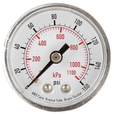 Pressure Gauge, 0to160 psi, 0to1100 kPa