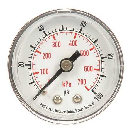 Pressure Gauge, 0 to 100 psi, 0 to 700 kPa