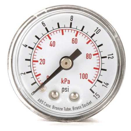 Pressure Gauge, 0 to 15 psi, 0 to 100 kPa