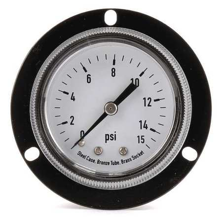 Panel Gauge,  Front Flange, 2 In, 100 psi