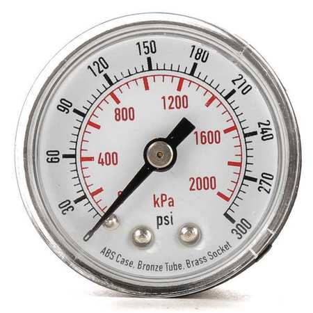 Pressure Gauge, 0to300 psi, 0to2000 kPa