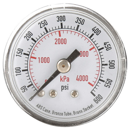 Pressure Gauge, 0to600 psi, 0to4000 kPa