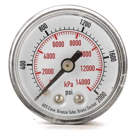 Pressure Gauge, 0 to 2000 psi, 14, 000 kPa