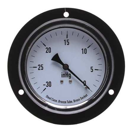 Panel Vacuum Gauge, Front Flange, 3 1/2 In