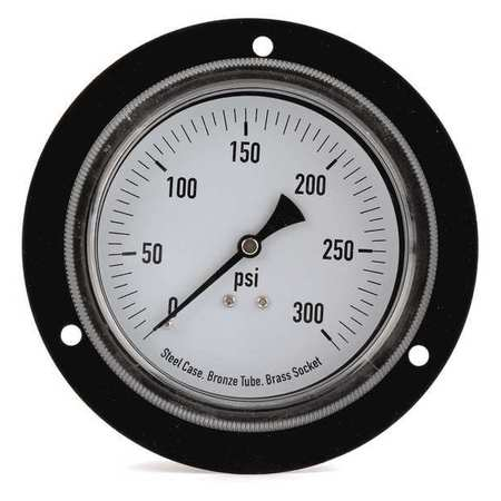 Panel Gauge,  Front Flange, 3 1/2In, 300psi