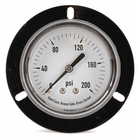 Panel Gauge,  Front Flange, 2 1/2In, 200psi