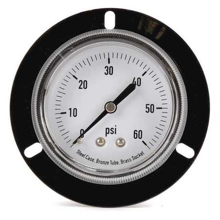 Panel Gauge,  Front Flange, 2 1/2 In, 60psi