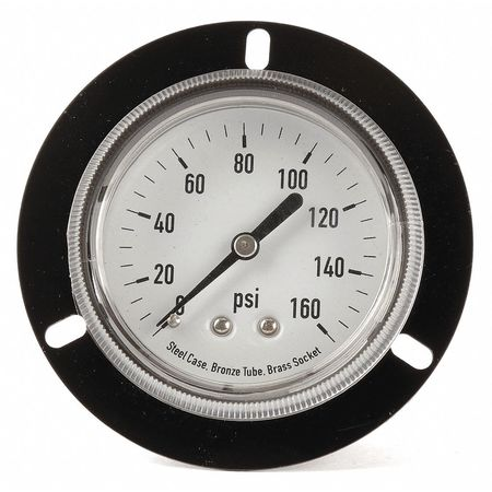 Panel Gauge,  Front Flange, 2 1/2In, 160psi