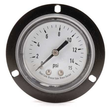 Panel Gauge,  Front Flange, 2 In, 15 psi