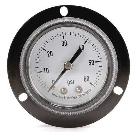 Panel Gauge,  Front Flange, 2 In, 60 psi