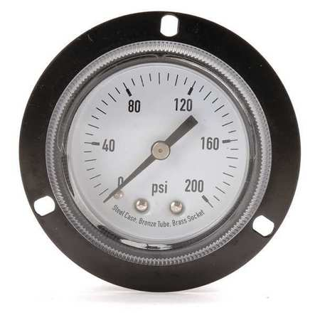 Panel Gauge,  Front Flange, 2 In, 200 psi