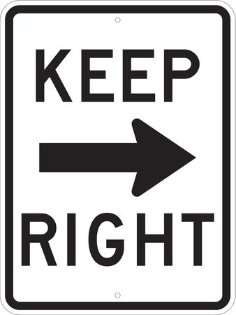 Traffic Sign, 24 x 18In, BK/WHT, Keep R