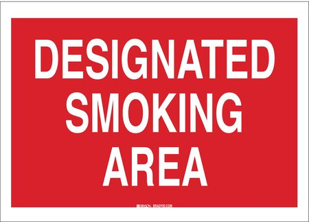 Smoking Area Sign, 7 x 10In, WHT/R, AL, ENG