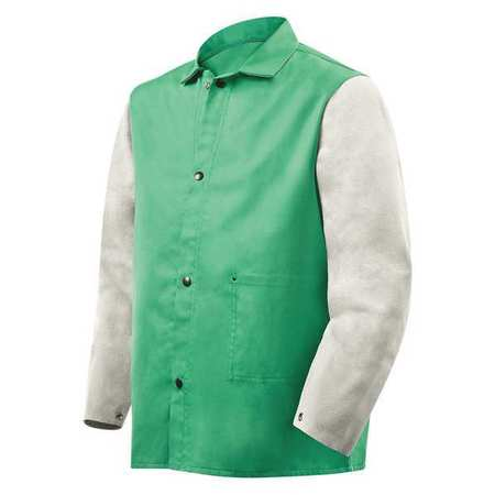 Flame Resistant Jacket w/Leather Sleeves,  Green/Gray,  M