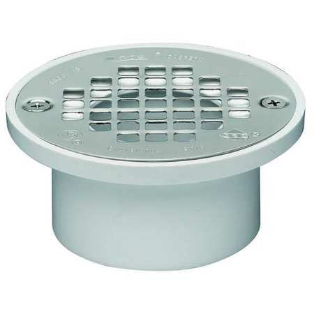 Drain, 5 In Dia, White PVC, Fits 3 or 4 In