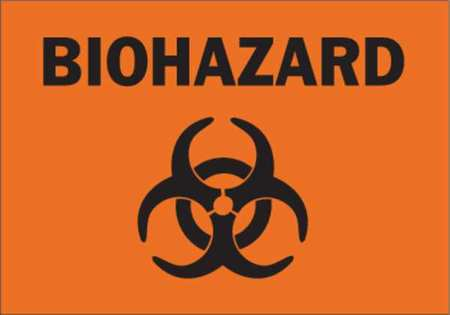 Biohazard Sign, 7 x 10In, BK/ORN, AL, SYM