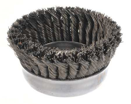 Knot Wire Cup Wire Brush,  Threaded Arbor,  5""