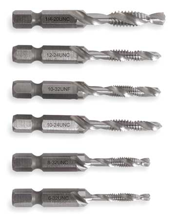 Drill/Tap/Countersink Set, SAE, 6 Pc