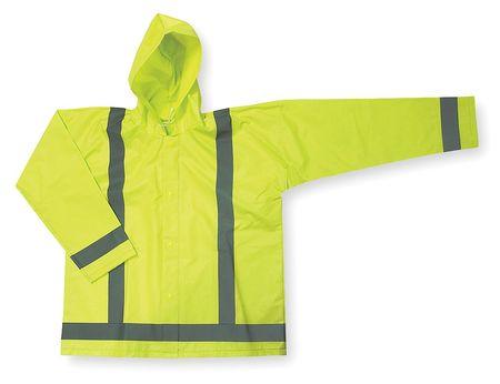 Jacket w/Detach Hood, Hi-Vis Ylw/Grn, M
